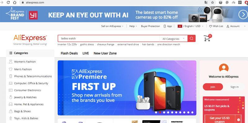 Aliexpress là một trang web mua hàng lẻ uy tín của Trung Quốc